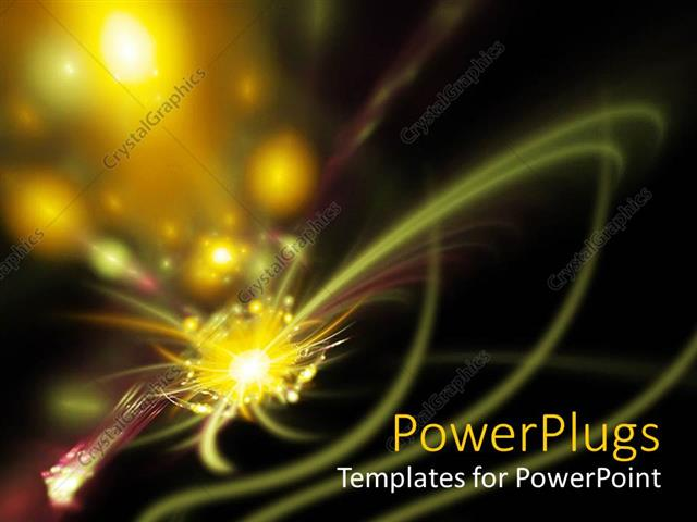 Powerpoint Template Yellow Sparks With Light Streaks On
