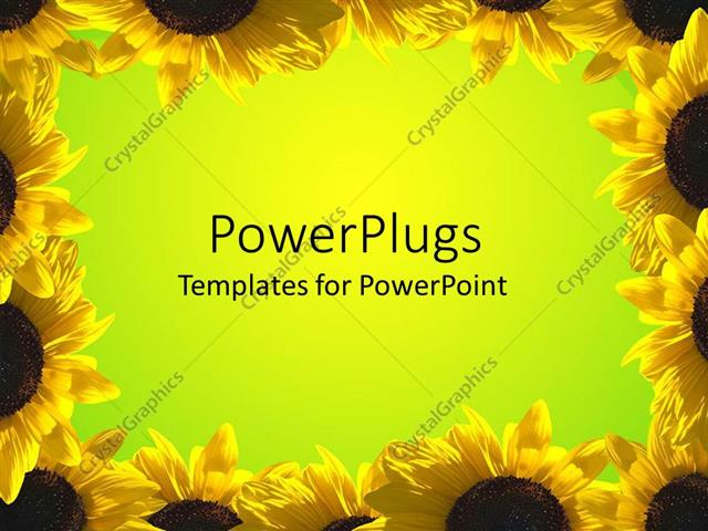 PowerPoint Template Displaying Yellow Sunflower Frame Around Green Background,