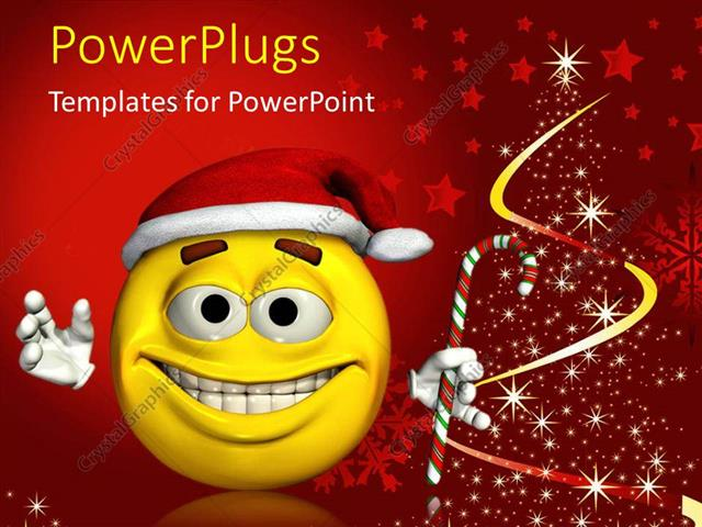 powerpoint template yellow tired looking smiley face with santa hat