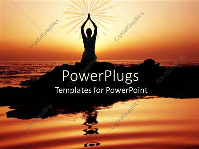 PowerPoint Template Displaying Yoga Performer at Sunset, Silhouette of Woman Doing Yoga on Seashore at Sunset Symbol of Yoga