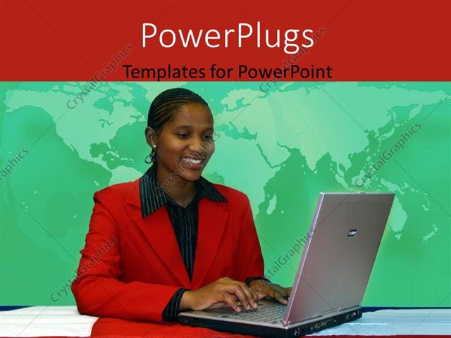 Powerpoint template young african american woman operating laptop powerpoint template displaying young african american woman operating laptop with world map in toneelgroepblik Choice Image