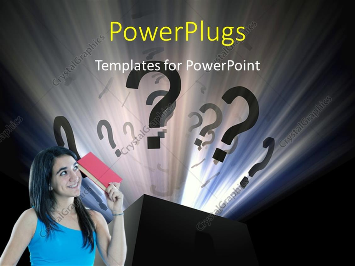 PowerPoint Template: Young lady asking questions with question mark ...
