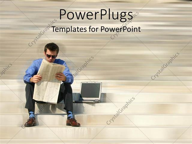 PowerPoint Template Displaying Young Man in Blue and Gray Sitting Next to Laptop Reading Newspaper