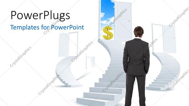 PowerPoint Template Displaying a Professional with a Number of Doors