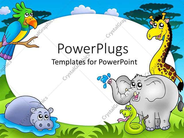 Powerpoint template zoo theme with exotic animals with hippo powerpoint template displaying zoo theme with exotic animals with hippo giraffe elephant snake and toneelgroepblik Gallery