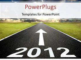 PPT theme consisting of 2012 road with arrow to sunrise