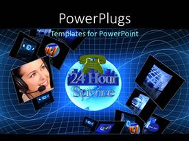 Colorful PPT layouts having 24 hour customer support concept, with tech depiction