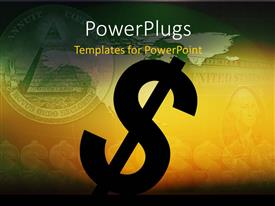 Colorful presentation design having 2D dollar sign with dollar bill blurred in background
