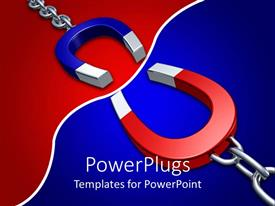 Amazing PPT layouts consisting of 3D blue and red attracting horseshoe shaped magnets on opposite colored background