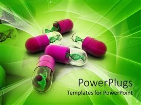 Amazing presentation design consisting of 3D capsules pink and transparent with DNA strands inside on green abstract background