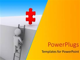 Audience pleasing slide deck featuring a 3D character climbing a ladder to  red puzzle piece