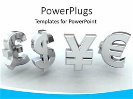 Presentation design with 3D chrome currency symbols on grey background