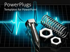 Elegant slide deck enhanced with 3D chrome metal parts on glowing pulse graphic screen, screws, spring, arch,