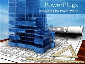 PPT theme featuring a 3D conceptual design of the house with blue background