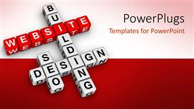 Amazing presentation theme consisting of 3D crossword puzzle cubes for website building and design, website word on red cubes and white cubes with words building, design and seo