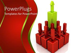 PPT theme with 3D depiction of eight red blocks with red bars pointing downwards and one higher green block with arrow pointing upwards, red falling bars and green rising bar