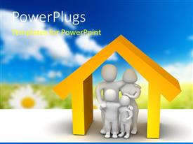 PPT theme enhanced with 3D depiction of a family inside model of a house with blurred nature background