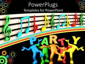 Presentation design consisting of 3D depiction of multi colored figures in a party themed background
