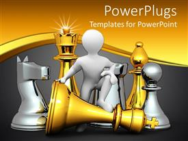 Slides having 3D design depicting figure and big chess pieces gold chess pieces and silver gold pieces on golden and gray background
