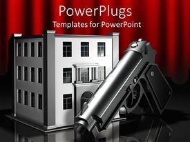Theme featuring 3D digital representation of metallic gun in front og three story office building, gun in front of bank building, robbery theme