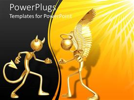 PPT theme consisting of 3D figures devil and angel, evil and good, dark and light concept, demon on black and angel on yellow with sun rays background
