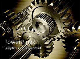 PPT theme featuring 3D gear wheels on steel background