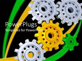 PPT theme featuring 3D gears with three silver gears, one yellow gear and one green gear forming gear mechanism on black background
