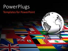 Amazing slide deck consisting of 3D globe against a background of flags of the world