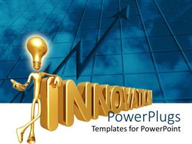 5000 innovation powerpoint templates w innovation themed backgrounds presentation theme consisting of 3d golden depiction of figure with light bulb instead of head standing toneelgroepblik Image collections