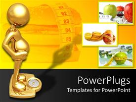Presentation design with 3D golden figure on golden weighing machine, hamburger surrounded by measuring tape, three depictions of fruits with measuring tape around them on yellow and black background
