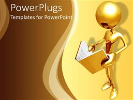 Beautiful PPT theme with 3D golden figure holding and reading an opened book on a yellow and light brown background
