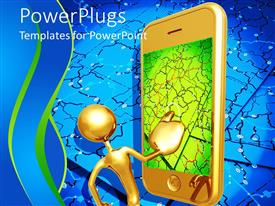 Beautiful presentation with 3D golden figure with large mobile phone with touch screen displaying map with connections on blue background