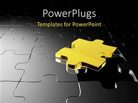 PPT theme consisting of 3D golden puzzle over black jigsaw puzzle