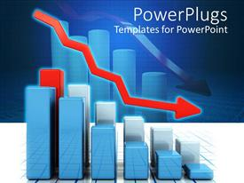 Colorful theme having 3D graphic chart bars with red falling arrow representing falling profits