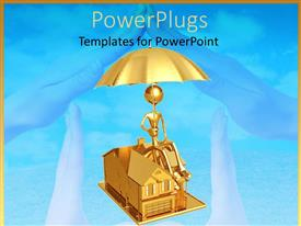 Presentation design having 3D graphics of a gold colored human holding an umbrella and sitting on a house