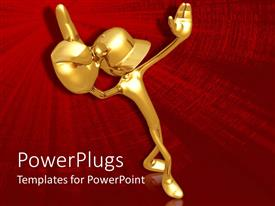 Elegant presentation enhanced with 3D graphics of a large gold colored human character on red background