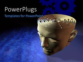 Presentation theme having 3D graphics of a large head with a maze on top of it