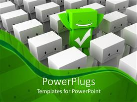 PPT layouts consisting of 3D graphics of lots of frowning characters with a smiling green one