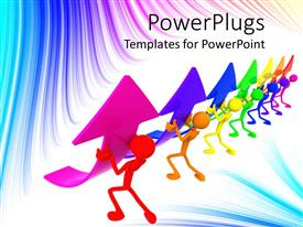 Slide deck having 3D graphics of seven multicolored characters holding up arrows