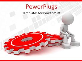 Presentation theme enhanced with a 3D graphics sitting on a stack or red gears