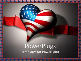 Beautiful PPT layouts with 3D heart with American flag and red ribbon, star and stripe border, USA, patriotic