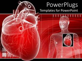 PPT theme featuring 3D heart depiction and digital human body representation with enlarged envisioning of human heard on red medical related background