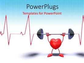 Slides enhanced with 3D heart symbol in weight lifting with heart pulse on white background