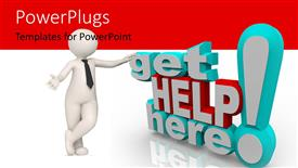 Colorful PPT theme having 3D get help here exclamation mark with 3D figure on white and red background