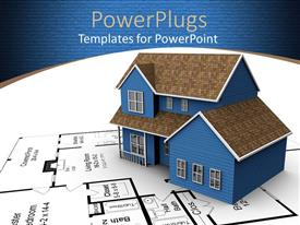 PPT theme featuring a 3D house on a white paper with a house blue print