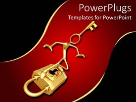 PPT theme featuring 3d human character with a key head standing on a padlock
