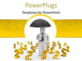 Audience pleasing PPT theme featuring 3D man carrying umbrella with gold dollar signs on floor