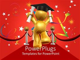 PPT layouts featuring 3D man celebrating Graduation Day, Cool starry red background