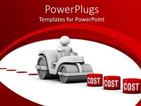 PPT layouts featuring 3D man crushing different blocks of costs, reduce cost, red and white background