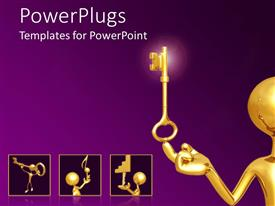 Presentation with 3D man plated in gold balancing key in head on purple background
